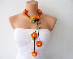 Lariat Scarf Necklace  http://www.etsy.com/listing/91320848/hand-crochet-orange-and-yellow-flowers