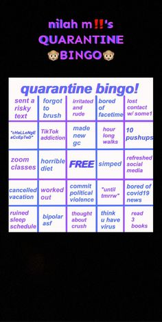 #quarantine #bingo #game #snapchat Need Quotes, Social Class, Facetime, Spam, Bingo, Push Up, Snapchat, Addiction, Challenges