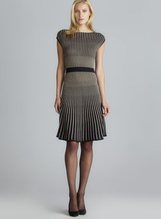 Sleeveless Metallic Stripe A-Line Dress