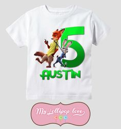 Zootopia Personalized Birthday Shirt By MyLollipopLove On Etsy Order Custom Shirts