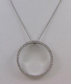 ROBERTO COIN 18KT WHITE GOLD CIRCLE OF LIFE 1.00 CARAT PAVE DIAMOND PENDANT #RobertoCoin #Pendant