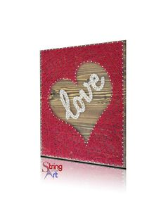 DIY String Art Kit - Love inside an inverted Heart on a HAND sanded and HAND stained pine wood board.  This String Art Kit also includes the highest quality embroidery floss, metallic wire nails, easy to follow instructions, and a pattern template.  Learn more by visiting www.StringoftheArt.com