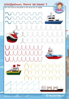 Schrijfpatroon, thema de haven boten, kleuteridee, kindergarten writing pattern port ship, free printable Homeschool Preschool Curriculum, Fall Preschool, Preschool Learning Activities, Kindergarten Writing, Preschool Printables, Preschool Lessons, Teaching Kids, Kindergarten Themes, Kindergarten Math Worksheets