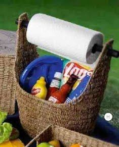Great idea for a picnic or tailgate basket using Thirty-Ones Magazine Basket! Lots of uses for this basket.. Use it in your bathroom to hold TP/ room spray/ magazines!