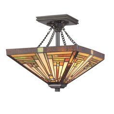Quoizel Lighting Two-Light Tiffany Semi-Flushmount Ceiling Light | TF885SVB | Destination Lighting