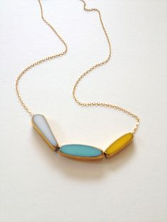 Sunny Side Necklace // 24k gold yellow, blue, white // mid century pastel jewelry by LilahV