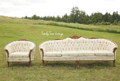 Family Tree Photography and Vintage Event Rentals | Our Vintage 'Lucy' sofa and chair set available for you to rent in Muskoka On | (705) 349 1123 | www.tracyfowler.com
