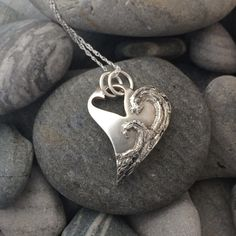 Handmade Large Waves Heart Necklace // A stunning surf pendant with echos of the ocean - perfect for all water lovers! - A truly eye-catching pendant inspired by the sea and a perfect gift for any lover of the water. Metal Clay Jewelry, Spoon Jewelry, Heart Jewelry, Fine Jewelry, Sea Glass Jewelry, Choker Jewelry, Jewellery, Bridal Jewelry, Silver Necklaces