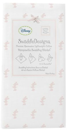 "Swaddle Designs ""Classic Disney - Little Minnie - Pastel Pink"" Marquisette Swaddling Blanket"