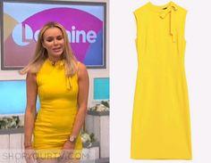 Lorraine: April 2016 Amanda Holden's Yellow Neck Tie Dress