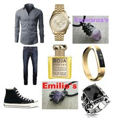 """Emilio Eats Dinner At Esperanza's House With Her Family and Santiago"" by rosemarie-lestrange on Polyvore featuring Jack & Jones, Converse, Michael Kors, Fitbit, West Coast Jewelry, Roja Parfums, men's fashion and menswear"