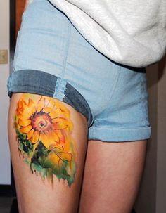 Sunflower watercolor tattoo on leg for girl - sunflower, flower, yellow