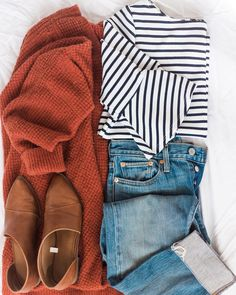 My go to outfit, stripes are my weakness! http://liketk.it/2uSTf #liketkit @liketoknow.it #LTKstyletip #LTKunder100 . . . . . .…