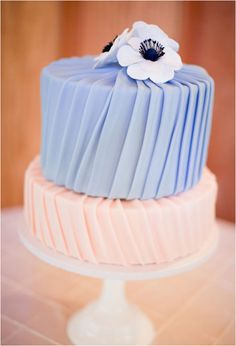 Pleated Pastel Wedding Cake. Photo: Hannah Suh Photography, Cake: Jen's Cakes