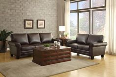 Hume Collection Sofa 8579DB-3Adaptable to be at home in a number of traditional or transitional settings, the Hume Collection provides a stylish look to your living room. Featuring the classic styles of an elevated foot and rolled arms, the Hume Collection will provide you with a comfortable and versatile platform to showcase your decorative taste. The collection is offered in dark brown bonded leather match.Features:Hume CollectionTraditional StyleDark Brown ColorBonded Leather Match…