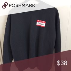 Vtg Sweatshirt Black crew neck sweatshirt. So much potential here! Long sleeves and thick bands. Adult XL oversized look on XS/S/M UNIF Sweaters Crew & Scoop Necks