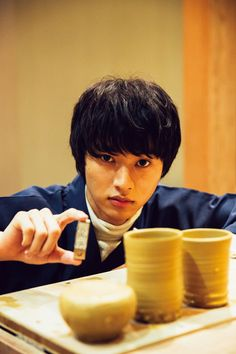 """Kento Yamazaki, Ceramics, """"challenged to make meoto-yunomi (lit.green tea tumbler for a married couple) for my parents.""""  The Television #21, 2015 https://www.youtube.com/watch?v=s4sHCvhTWvU"""