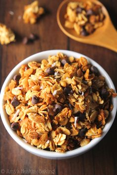 """Clean-Eating Almond Joy Granola -- a healthy, super easy recipe full of clusters that lets you eat """"candy"""" for breakfast!"""