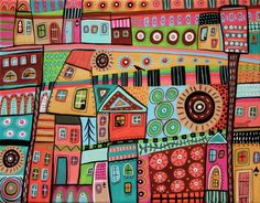 Melange ORIGINAL 11x14 inch CANVAS PAINTING Folk Art Abstract City Karla Gerard #AbstractFolkArt