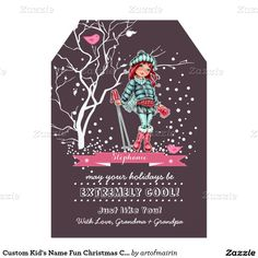 Merry Christmas and a Happy New Year. Happy Holidays. Snow Scene with a young girl skier Girly Design Christmas Flat Greeting Cards for kids / teenagers with a personalized name.Matching cards, postage stamps and other products available in the Christmas & New Year Category of the artofmairin store at zazzle.com