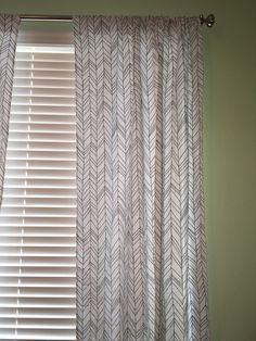 Curtain Panels  White/Grey Herringbone by 3LollipopGirls on Etsy