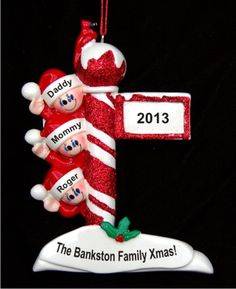ed5b3195d2504 North Pole Greetings family of 3 Baby Ornament Personalized Christmas Post
