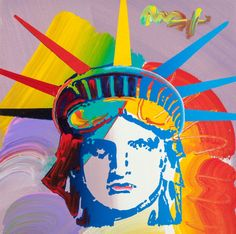 Mainstream Illustration, PETER MAX (American, b. 1937). Statue of Liberty. Oil oncanvas. 12 x 12 in.. Signed upper right. ...