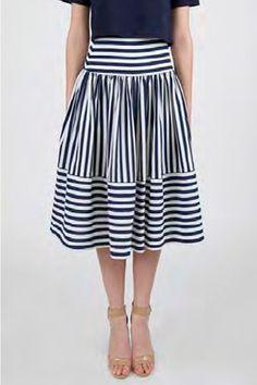 beauxx.com | JOA Striped Midi Skirt