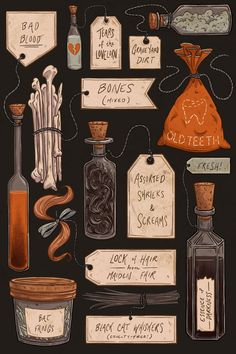 Spooky Halloween Odds and Ends Art Print- this is a great print, and it also gives me some ideas for props!