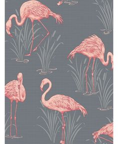 Vintage Lagoon Flamingo Wallpaper Grey/Coral - Arthouse 252603