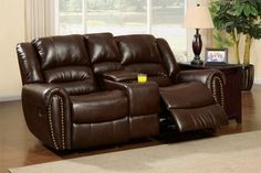 Furniture of America Rustic Dark Brown Bonded Leather Center Console Recliner Loveseat Leather Reclining Sofa, Leather Loveseat, Cowhide Furniture, Loveseat Recliners, Plastic Adirondack Chairs, Wooden Stools, Bonded Leather, Chair Pads, Seat Cushions