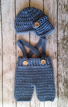 Oliver Newsboy Cap with Crochet Baby Shorts/Pants with Suspenders in Stonewash A. - Oliver Newsboy Cap with Crochet Baby Shorts/Pants with Suspenders in Stonewash Available in Newborn - Crochet Baby Pants, Crochet For Boys, Newborn Crochet, Crochet Hats, Crochet Baby Clothes Boy, Crochet Baby Boy Hat, Knit Hats, Crochet Beanie, Baby Knitting Patterns