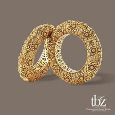 Gold Bangles Design from TBZ Stylish gold antique bangle from TBZ jewellers, TBZ Jewellers Gold Bangles Designs, Gold Temple Jewellery, Gold Jewelry, Jewelery, Druzy Jewelry, Gold Necklaces, Bridal Bangles, Wedding Jewelry, Bridal Earrings, Gold Bangles Design