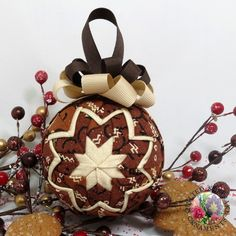 ... > Holiday Ornaments > Gingerbread Spice Quilted Christmas Ornament