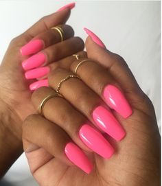 Beautiful Pink acrylic nails