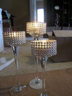 POST WEDDING SALE - Bling Stemmed Votive Centerpieces! :  wedding bling candle holders centerpieces gold reception white ThreePieceBlingCenterpieces