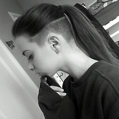 Ponytail, Undercut; when my hair gets longer, im going to get the undercut on my sides like this :)