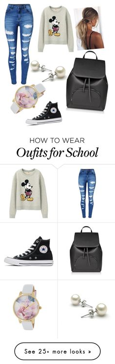"""School"" by andreeaioana-5 on Polyvore featuring WithChic, Uniqlo, Converse and Ted Baker"