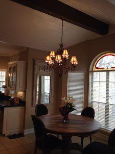 Dining room and cedar beam.