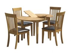 Devon Dining Set  Solid Oak butterfly extension dining table and 4 solid Oak chairs with faux leather seats.  Table Dimensions: L1050mm x W800mm x H470mm (L1350mm when extended) Chair Dimensions: W510mm x D430mm x H945mm