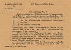 Postscheckamt Frankfurt (Main) 02-03-1948 Ruckseite
