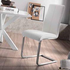 Silla AVERY de piel sintética y estructura de acero inoxidable. Disponible en blanco y perla.