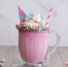 Unicorn Hot Chocolate Mug .Swiss Miss Is Making Unicorn Hot Chocolate Mix . Swiss Miss is adding Unicorn Hot Chocolate to its list of Cute Desserts, Delicious Desserts, Dessert Recipes, Yummy Food, Baking Desserts, Cake Baking, Cake Recipes, Unicorn Milkshake, Vanilla Mug Cakes