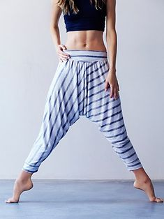 Free People Bindu Pant | So-soft American made drippy French terry warm-up harem, perfect for low-intensity workouts or throwing on after class. Performance Seaming with stretch-back waistband and cuffs above ankles. Striped print.   *By FP Movement  *FP Movement is an entirely new activewear collection, designed to nourish your mind, body, and free spirit.