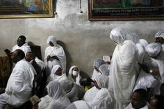 Ethiopian Orthodox worshipers attend the Washing of the Feet ceremony at the Ethiopian section of the Church of the Holy Sepulchre in Jerusalem's Old City ahead of Orthodox Easter. (Reuters)