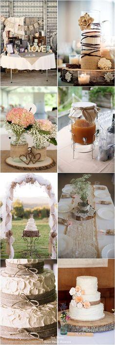 50 + Chic-Rustic Burlap Wedding Ideas: http://www.deerpearlflowers.com/50-chic-rustic-burlap-and-lace-wedding-ideas/