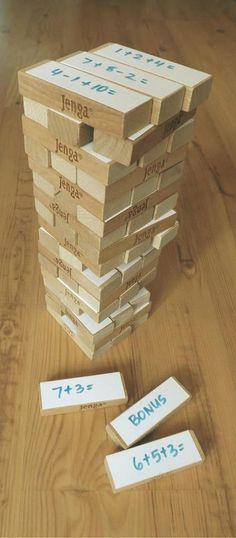 Jenga Sums - Teacher's Pet – Ideas Inspiration for Early Years (EYFS), Key Stage 1 and Key Stage 2 Ks1 Maths, Numeracy, Maths Area, Maths Games Ks2, Maths Games For Kids, Primary Maths Games, Subtraction Activities, Children Games, Kids Math