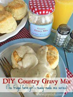 Homemade COUNTRY GRAVY MIX: The frugal farm girl's DIY ready-made mix series (lots more mix recipes here!). | Farm Girl Inspirations: www.joyelick.com.
