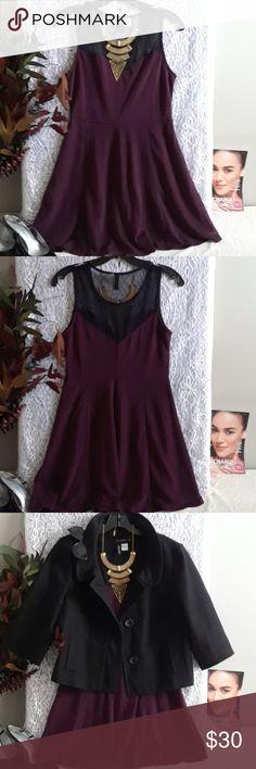 "Adorable Dress EUC, worn once, sheer v_neck top. Length 32"", waist 13 1/2"" (with stretch ), armpit to armpit laying flat 15"", burgundy/black H&M Dresses Midi"