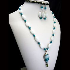 Teal and White Agate with Teal Jade Sterling Necklace and Earrings | StyleKittie - Jewelry on ArtFire